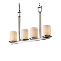 Justice Design Limoges Dakota 4-Light Bar Chandelier in Brushed Nickel POR-8778-10-WAVE-NCKL