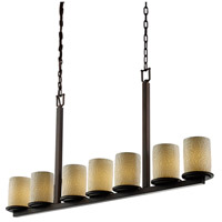 Justice Design Limoges Dakota 7-Light Bar Chandelier in Dark Bronze POR-8779-10-BMBO-DBRZ