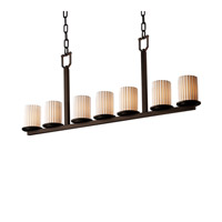 Justice Design Limoges Dakota 7-Light Bar Chandelier in Dark Bronze POR-8779-10-PLET-DBRZ