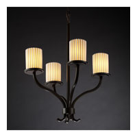 Justice Design Limoges Sonoma 4-Light Chandelier in Dark Bronze POR-8780-10-PLET-DBRZ