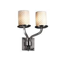 Limoges 2 Light 13 inch Brushed Nickel Wall Sconce Wall Light in Checkerboard