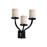 Justice Design Limoges Sonoma 3-Light Wall Sconce in Matte Black POR-8783-10-WFAL-MBLK