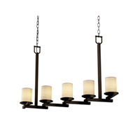 Justice Design Limoges Dakota 5-Light Zig-Zag Chandelier in Dark Bronze POR-8787-10-WAVE-DBRZ