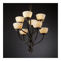 Justice Design Limoges Sonoma 8-Light 2-Tier Chandelier in Dark Bronze POR-8788-35-WFAL-DBRZ photo thumbnail