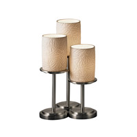 Justice Design POR-8797-10-BMBO-NCKL Limoges 16 inch 60 watt Brushed Nickel Table Lamp Portable Light in Bamboo