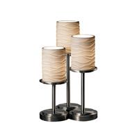 Justice Design Limoges Dakota 3-Light Table Lamp in Brushed Nickel POR-8797-10-WAVE-NCKL