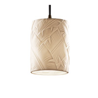 Justice Design POR-8815-10-BANL-DBRZ Limoges 1 Light 4 inch Dark Bronze Pendant Ceiling Light in Cord, Banana Leaf, Cylinder with Flat Rim photo thumbnail