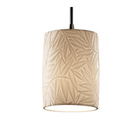 Justice Design POR-8815-10-BMBO-NCKL Limoges 1 Light Brushed Nickel Pendant Ceiling Light in Cord, Bamboo, Cylinder with Flat Rim photo thumbnail