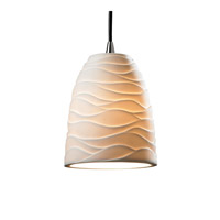 Justice Design Limoges Pendants Mini 1-Light Pendant in Brushed Nickel POR-8815-18-WAVE-NCKL