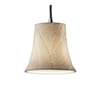 Justice Design POR-8815-20-BANL-CROM Limoges 1 Light 4 inch Polished Chrome Pendant Ceiling Light in Cord, Banana Leaf, Round Flared photo thumbnail