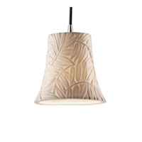 Limoges 1 Light 4 inch Brushed Nickel Pendant Ceiling Light in Cord, Bamboo, Round Flared