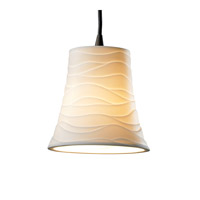 Justice Design POR-8815-20-WAVE-DBRZ Limoges 1 Light Dark Bronze Pendant Ceiling Light in Cord, Waves, Round Flared photo thumbnail