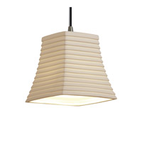 Justice Design POR-8815-40-SAWT-NCKL Limoges 1 Light 6 inch Brushed Nickel Pendant Ceiling Light in Cord, Sawtooth, Square Flared  photo thumbnail