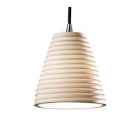 Justice Design POR-8815-50-SAWT-NCKL Limoges 1 Light Brushed Nickel Pendant Ceiling Light in Cord, Sawtooth, Cone photo thumbnail