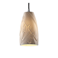 Justice Design POR-8816-28-BANL-CROM Limoges 1 Light Polished Chrome Pendant Ceiling Light in Cord, Banana Leaf, Tall Tapered Cylinder photo thumbnail