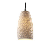 Limoges 1 Light 4 inch Brushed Nickel Pendant Ceiling Light in Cord, Bamboo, Tall Tapered Cylinder