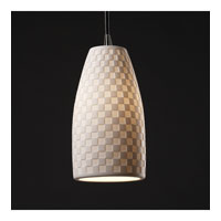 Justice Design Limoges Pendants Small 1-Light Pendant in Matte Black POR-8816-28-CHKR-MBLK