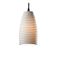 Justice Design Limoges Pendants Small 1-Light Pendant in Matte Black POR-8816-28-SAWT-MBLK