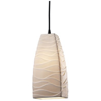 Limoges 1 Light 5 inch Matte Black Pendant Ceiling Light in Cord, Waves, Tall Tapered Square