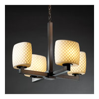 Justice Design Limoges Modular 4-Light Chandelier (Halogen) in Dark Bronze POR-8820-30-CHKR-DBRZ