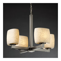 Justice Design Limoges Modular 4-Light Chandelier (Halogen) in Brushed Nickel POR-8820-30-LEAF-NCKL