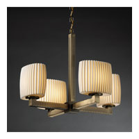 Justice Design Limoges Modular 4-Light Chandelier (Halogen) in Antique Brass POR-8820-30-PLET-ABRS