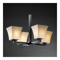 Justice Design Limoges Modular 4-Light Chandelier (Halogen) in Matte Black POR-8820-40-CHKR-MBLK
