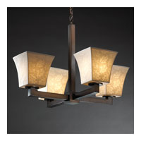 Justice Design Limoges Modular 4-Light Chandelier (Halogen) in Dark Bronze POR-8820-40-LEAF-DBRZ