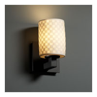 Justice Design Limoges Modular 1-Uplight Wall Sconce (Halogen) in Matte Black POR-8821-10-CHKR-MBLK