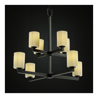 Justice Design Limoges Modular 8-Light 2-Tier Chandelier in Matte Black POR-8828-10-PLET-MBLK
