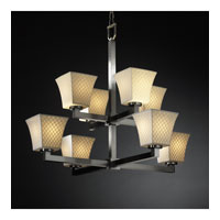 Justice Design Limoges Modular 8-Light 2-Tier Chandelier in Brushed Nickel POR-8828-40-CHKR-NCKL photo thumbnail