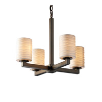 Limoges 4 Light Dark Bronze Chandelier Ceiling Light in Waves, Cylinder with Flat Rim