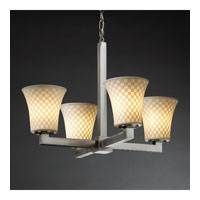 Justice Design Limoges Modular 4-Light Chandelier in Brushed Nickel POR-8829-20-CHKR-NCKL