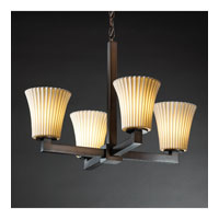 Limoges 4 Light Dark Bronze Chandelier Ceiling Light in Pleats, Round Flared