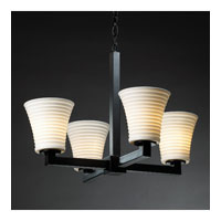 Justice Design Limoges Modular 4-Light Chandelier in Matte Black POR-8829-20-SAWT-MBLK