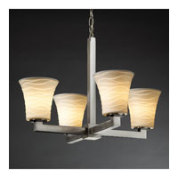 Justice Design Limoges Modular 4-Light Chandelier in Brushed Nickel POR-8829-20-WAVE-NCKL