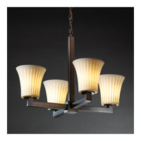Justice Design Limoges Modular 4-Light Chandelier in Dark Bronze POR-8829-20-WFAL-DBRZ