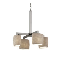 Justice Design Limoges Modular 4-Light Chandelier in Brushed Nickel POR-8829-30-WAVE-NCKL