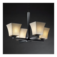 Justice Design Limoges Modular 4-Light Chandelier in Matte Black POR-8829-40-CHKR-MBLK