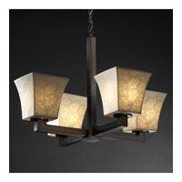 Justice Design Limoges Modular 4-Light Chandelier in Dark Bronze POR-8829-40-LEAF-DBRZ