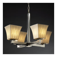 Justice Design Limoges Modular 4-Light Chandelier in Brushed Nickel POR-8829-40-OVAL-NCKL