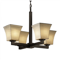 Limoges 4 Light 22 inch Dark Bronze Chandelier Ceiling Light in Sawtooth, Square Flared