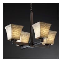 Limoges 4 Light Dark Bronze Chandelier Ceiling Light in Waves, Square Flared