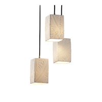 Justice Design Limoges Pendants Small 3-Light Cluster Pendant in Brushed Nickel POR-8864-15-BANL-NCKL