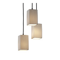 Limoges 3 Light 4 inch Dark Bronze Pendant Ceiling Light in Pleats, Square with Flat Rim