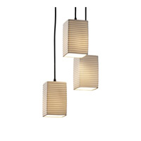 Limoges 3 Light 4 inch Matte Black Pendant Ceiling Light in Sawtooth, Square with Flat Rim