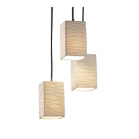 Limoges 3 Light 4 inch Brushed Nickel Pendant Ceiling Light in Waves, Square with Flat Rim