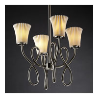Justice Design Limoges Capellini 4-Light Chandelier in Brushed Nickel POR-8910-20-PLET-NCKL