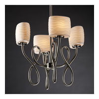 Justice Design Limoges Capellini 4-Light Chandelier in Brushed Nickel POR-8910-30-WAVE-NCKL