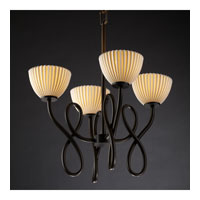 Justice Design Limoges Capellini 4-Light Chandelier in Dark Bronze POR-8910-35-PLET-DBRZ